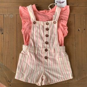 Jessica Simpson striped short overall set